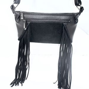 BCBG MAXAZRIA FRINGED WAISTBAG, WITH MULTI POCKETS